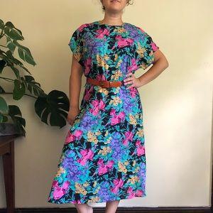 90s vintage vivid floral midi dress grunge